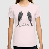 WINGS OF FREEDOM Womens Fitted Tee Light Pink SMALL
