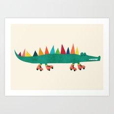 Crocodile on Roller Skates Art Print