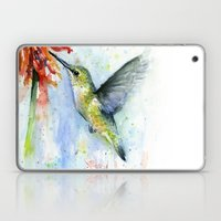 Hummingbird and Red Flower Watercolor Laptop & iPad Skin