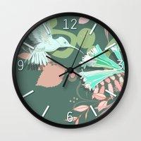 Hummingbird leaf tangle, green pale pink Wall Clock