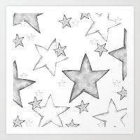 BLACK STARS Art Print
