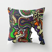 Muted Color Techno Throw Pillow