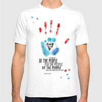 American Hands: Abraham Lincoln Mens Fitted Tee White SMALL