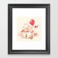 Sheep & Balloon Framed Art Print