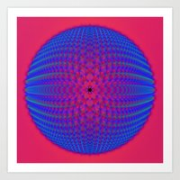 Blue Sphere On Pink Art Print