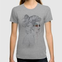 The Girl // Fashion Illustration Womens Fitted Tee Athletic Grey SMALL