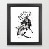 Framed Art Print featuring Wendigo by Natalie Hall