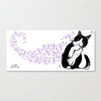 Tuxedo cat and dragonflies Canvas Print