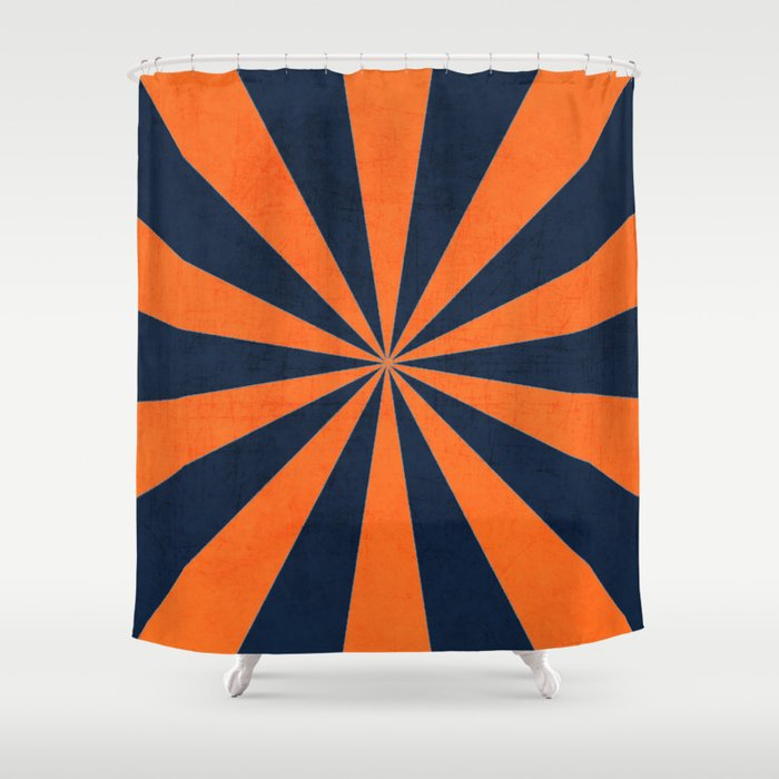 Navy And Orange Starburst Shower Curtain By Her Art Society6