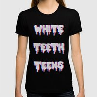 White Teeth Teens Womens Fitted Tee Black SMALL