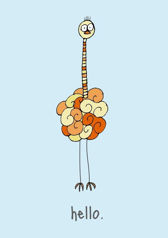 Hello Ostrich Art Print