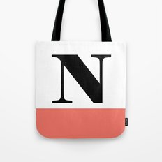 Monogram Letter N-Pantone-Peach Echo Tote Bag