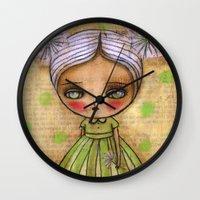 Dandelion Girl in Yellow And Green Wall Clock