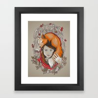 Safe in My Red Riding Hood Framed Art Print