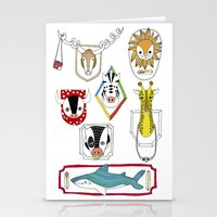 Animals head plaques Stationery Cards