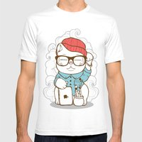 Hipster Kitty Mens Fitted Tee White SMALL