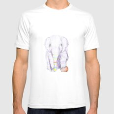 Striped Elephant Illustration Mens Fitted Tee White SMALL