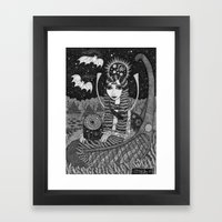 Girl in a Boat in Autumn. Framed Art Print