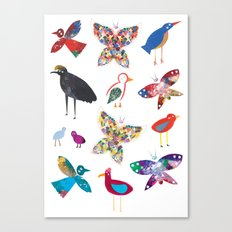Birds and Butterflies  Canvas Print