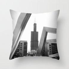 Sears Tower Sculpture Chicago Illinois Black and White Photo Throw Pillow