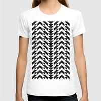 Geometric Chevrons Womens Fitted Tee White SMALL