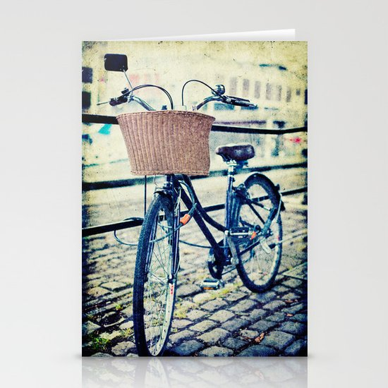 Locked bike in the city Stationery Card