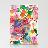 Abstract Watercolour Floral + Fruit Painting  Stationery Cards