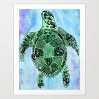 Tatoo Sea Turtle Art Print