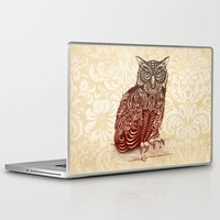 owl Laptop & iPad Skins featuring Most Ornate Owl by Rachel Caldwell