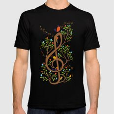 Song birds SMALL Mens Fitted Tee Black