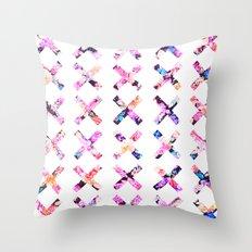 Elegant Vintage Chic Floral Bright Crosses Pattern Throw Pillow