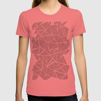 Abstraction Linear Inver… Womens Fitted Tee Pomegranate SMALL