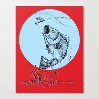 Bass Jumping In Blue Circle2 Canvas Print