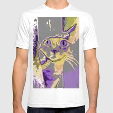 Cat In The Window (Purpl… Mens Fitted Tee White SMALL