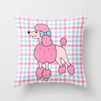 Pink Poodle Throw Pillow