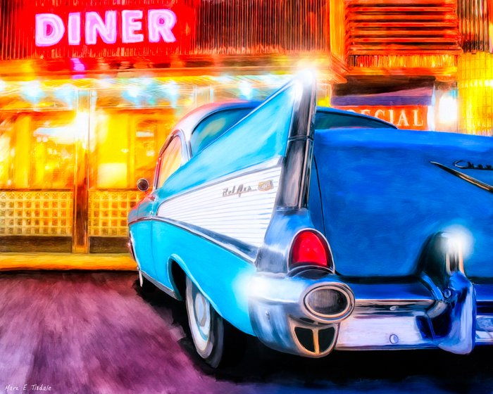 1957 chevy coupe classic american diner art print by for Diner artwork