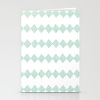 Green Diamonds Stationery Cards
