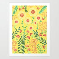 A Yellow Flowery Pattern Art Print