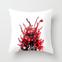 Carnage watercolor Throw Pillow