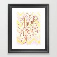 Thank You - Hand Lettere… Framed Art Print