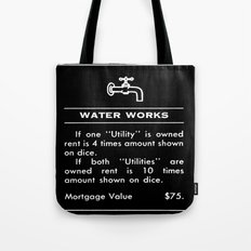 Water Works -Shower - White on Black Tote Bag