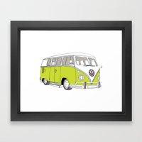 Green Volkswagen Camper Van (Landscape) (Kombi // VW) Framed Art Print