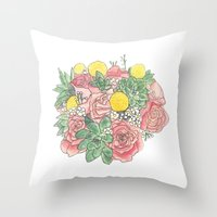 Succulent Watercolor Bou… Throw Pillow