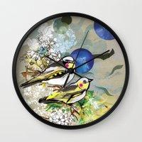 Yellow Birds Wall Clock