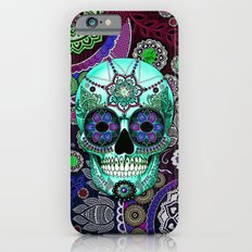 Sugar Skull Sombrero Night - Purple and Green Paisley Skull Art iPhone 6s Slim Case