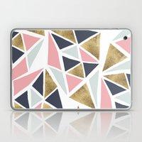 Modern geometrical pink navy blue gold triangles pattern Laptop & iPad Skin