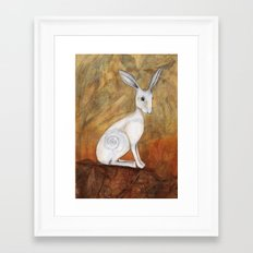 White Hare at Sunset Framed Art Print