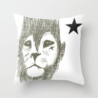 Punkster Lion *remade Fo… Throw Pillow