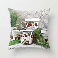 Old Cups And Greens - Pa… Throw Pillow