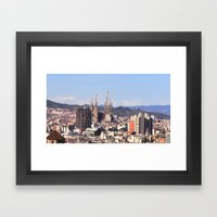 Barcelona: City view with Sagrada Familia Framed Art Print